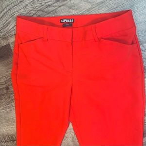 Express Red Editor Pants Flat Front Pockets Size 4